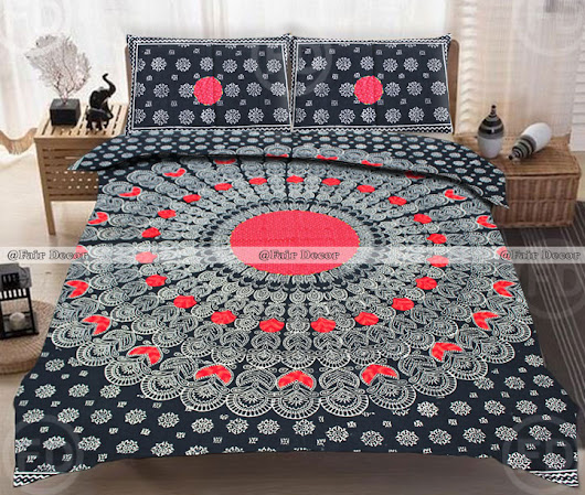 King Size Red Black Peacock Feather Embroidered Cotton Hippie mandala Bedspread Bedding Sets
