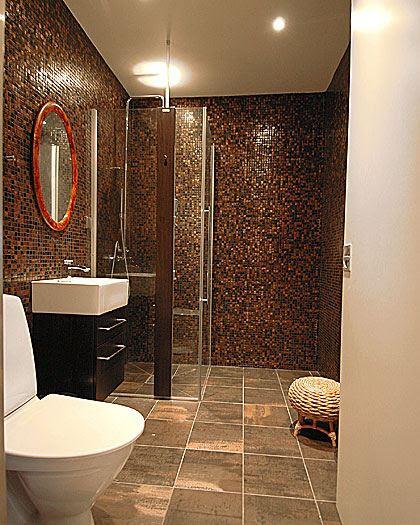 brown  tiled  bathrooms  2019 Grasscloth Wallpaper