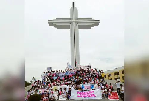 La Marcha por la Vida de Trujillo en su punto final, el Óvalo Papal visitado en 1985 por Juan Pablo II. Foto: ACI Prensa