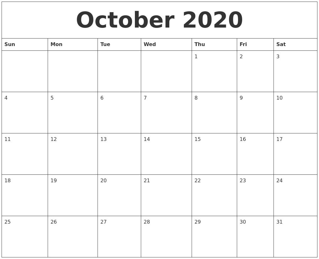 october 2020 make a calendar free