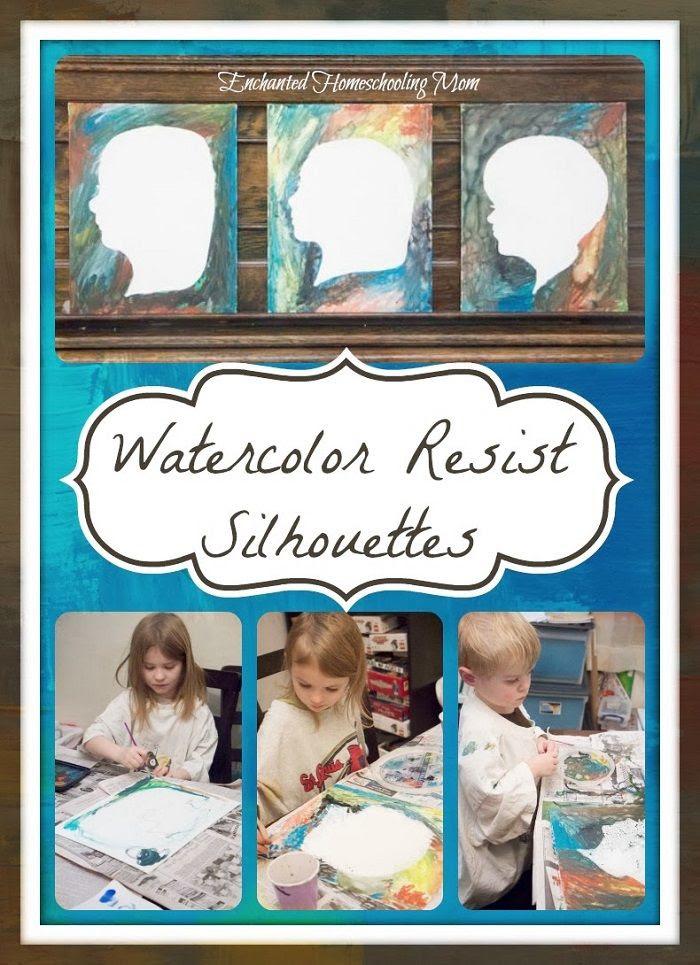Watercolor Resist Silhouettes - Enchanted Homeschooling Mom