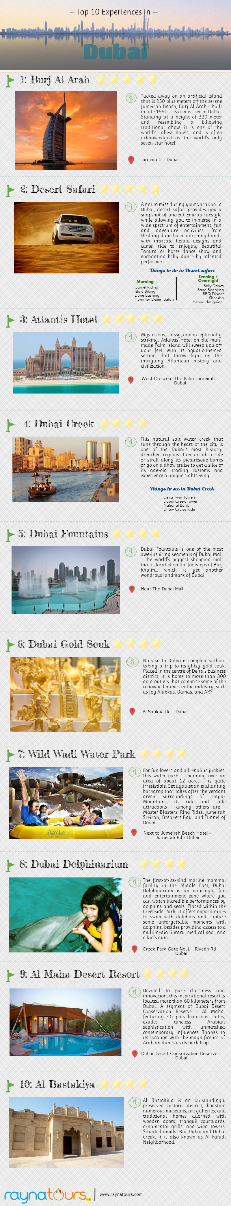 Infographic: Top 10 Experiences In Dubai #infographic