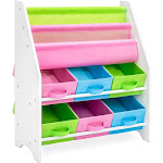 Best Choice Products Kids Toy and Book Storage Shelf w/ 3 Book Shelves, 6 Fabric Storage Bins