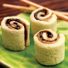 Peanut Butter and Jelly Sushi Rolls Allrecipes.com Remove crusts from bread. With a rolling pin or large soup can, completely flatten bread. Spread 1 tablespoon of Jif peanut butter and 1 tablespoon of Smucker's fruit spread on each slice of bread. Roll each slice into a tight spiral. Cut each spiral into 4 pieces.