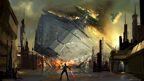 Another illustration showing Starkiller using the Force to bring down a Star Destroyer in STAR WARS: THE FORCE UNLEASHED.