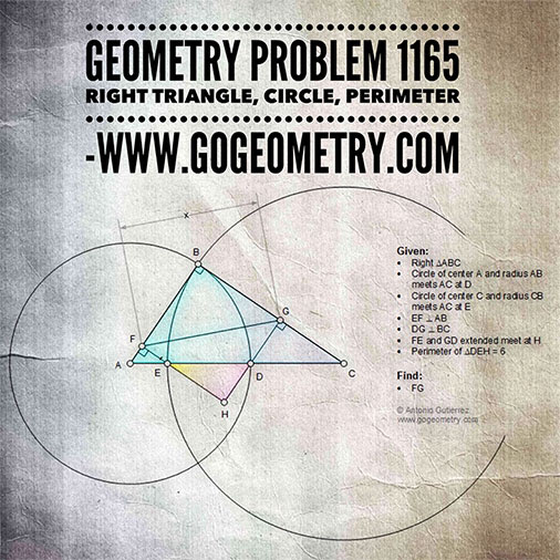 Geometric Art of Problem 1165, Right Triangle, Circle, iPad Apps, Typography