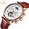 Kopen Goedkoop Kinyued Real Gold Mechanische Horloge Mannen Hot Moon Phase Automatische Lederen Band Hand Horloges Skeleton Tourbillon Man Online