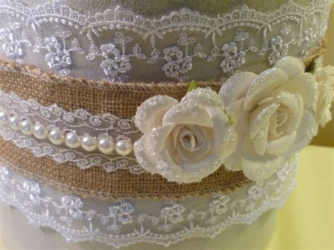 Details of burlap, lace and pearls on a Rustic Wedding