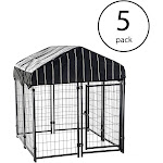 "Lucky Dog 4'6""H x 4'L x 4'W Welded Wire Fence Pet Kennel w/ Cover (5 Pack) by VM Express"