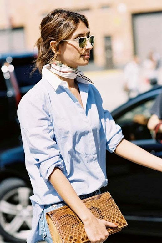 Le Fashion Blog Nyfw Street Style Printed Neck Scarf Transparent Sunglasses Blue Button Down Shirt With White Collar Denim Python Clutch Via Vanessa Jackman