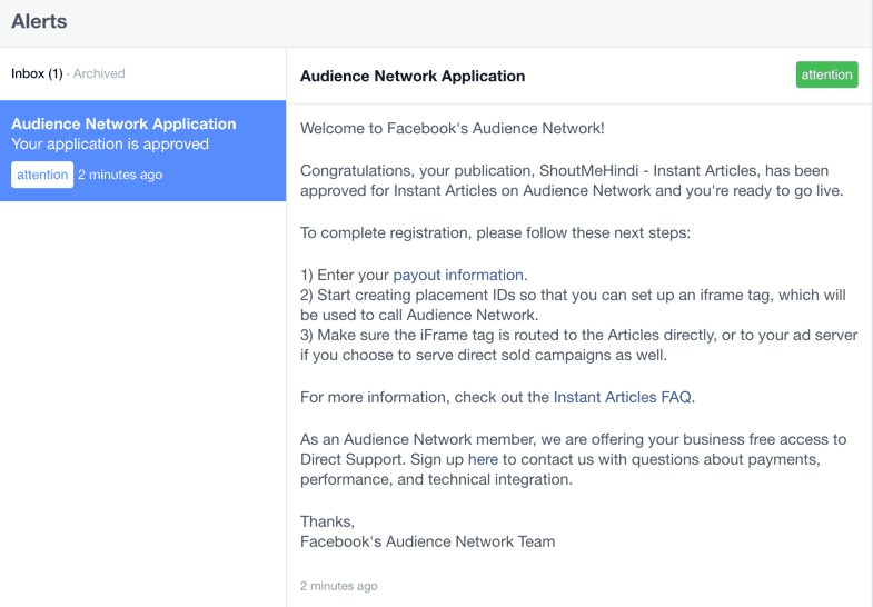 Approved Facebook network application