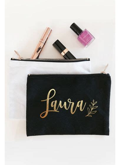 Personalized Leaf Canvas Cosmetic Bag   David's Bridal