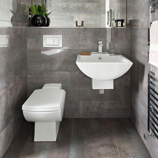 Dark grey tiled bathroom   Bathroom decorating ...