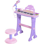 Qaba Kids 32 Key Butterfly Garden Electronic Piano Keyboard with Stool and Microphone - Pink/Purple