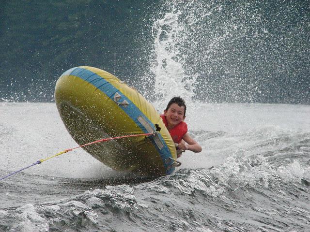 Adam flies off the tube