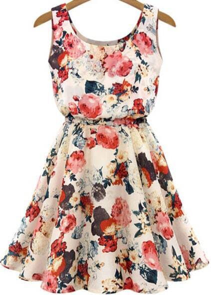 Sleeveless High Waist Florals Print Dress pictures
