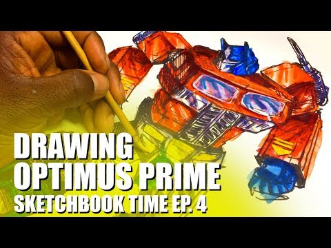 Drawing and Painting Optimus Prime Action Figure For Exercises :)