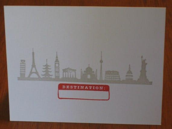 destination travel greeting card - FREE SHIPPING handmade stationary