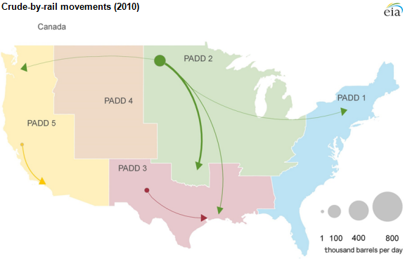 map of crude-by-rail movements, as described in the article text