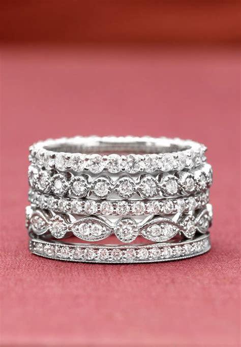 stacking diamond rings wedding promise diamond