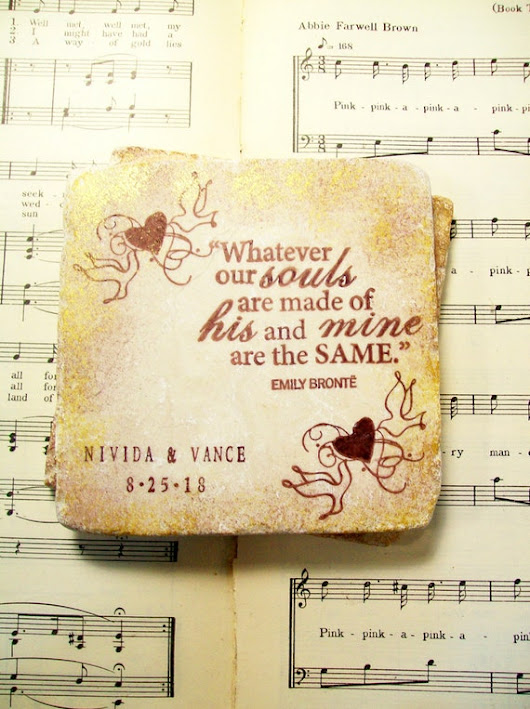 Wedding Coasters Emily Brontë Love Quote Coasters by PrayerNotes