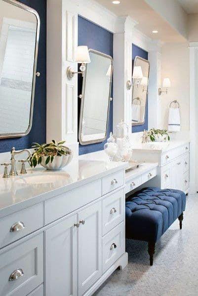 Top 50 Best Blue Bathroom Ideas - Navy Themed Interior Designs