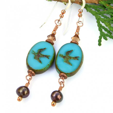 Turquoise Blue Birds Handmade Earrings, Swallows Pearls Sterling Artisan Dangle Jewelry