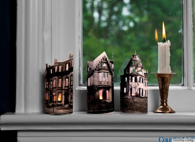 Halloween Decorations: Mini Ghost Town Candles From Country Living