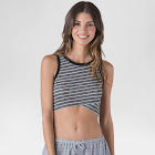 S&P by Standards & Practices Women's Stripe Criss Cross Crop Top - Charcoal