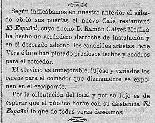 Noticia de la inauguración del café Español de Toledo en El dia de Toledo. 27-2-1909