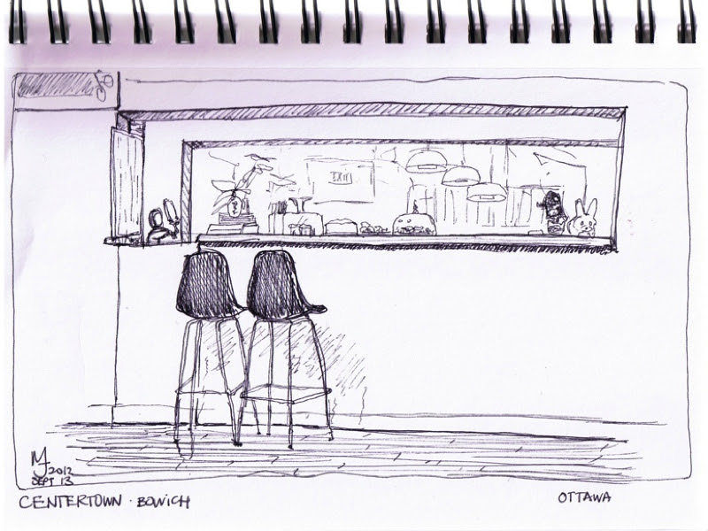 MJ SKETCHBOOK | Urban Sketcher - Ottawa Centertown Bowich Restaurant