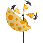 Handcrafted Mice and Cheese Metal Wind Spinner