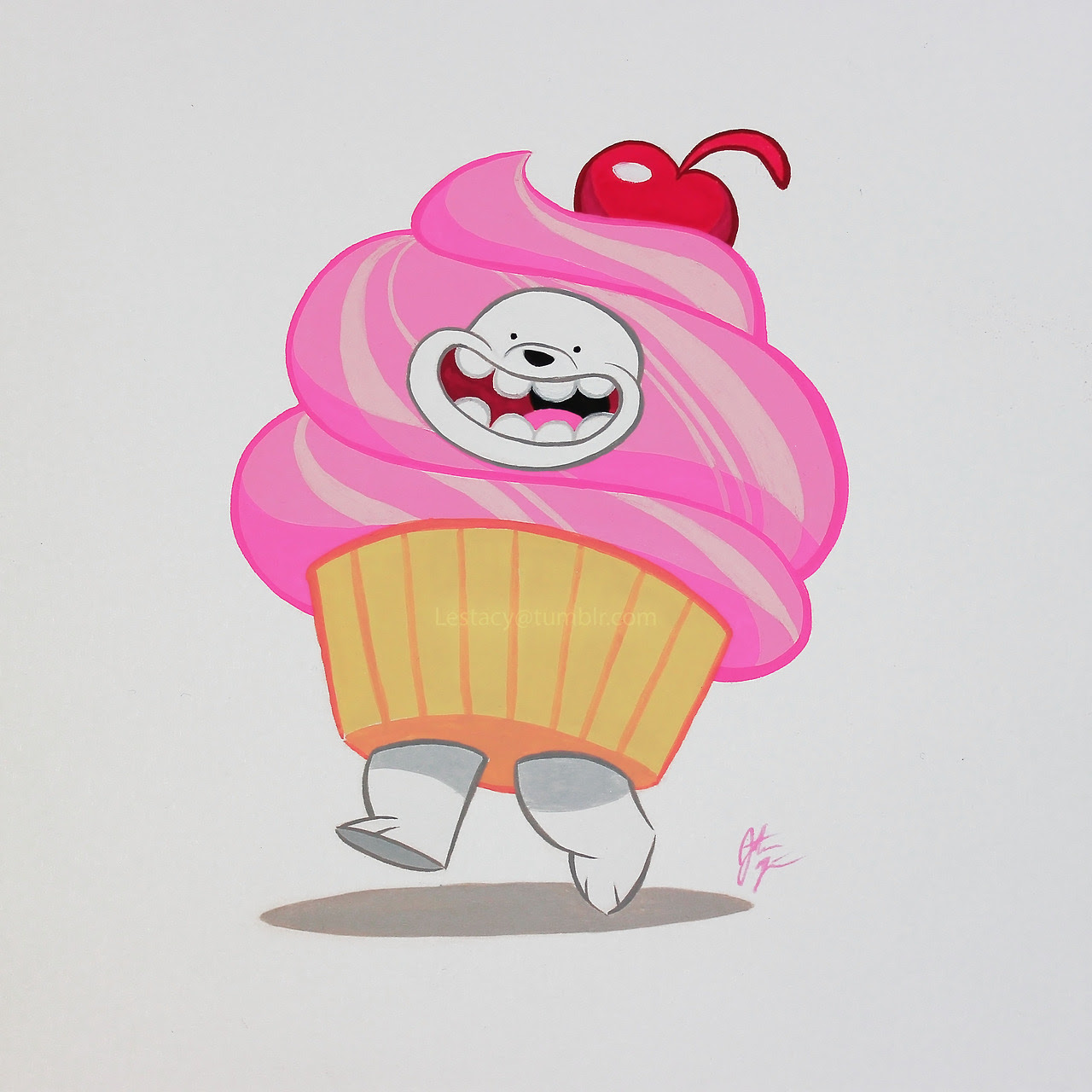 Cup… cake? I was reminded of this adorable scene in We Bare Bears from Cupcake Job! I think Ice Bear is my favorite of the brothers. Gouache on mixed media paper.
