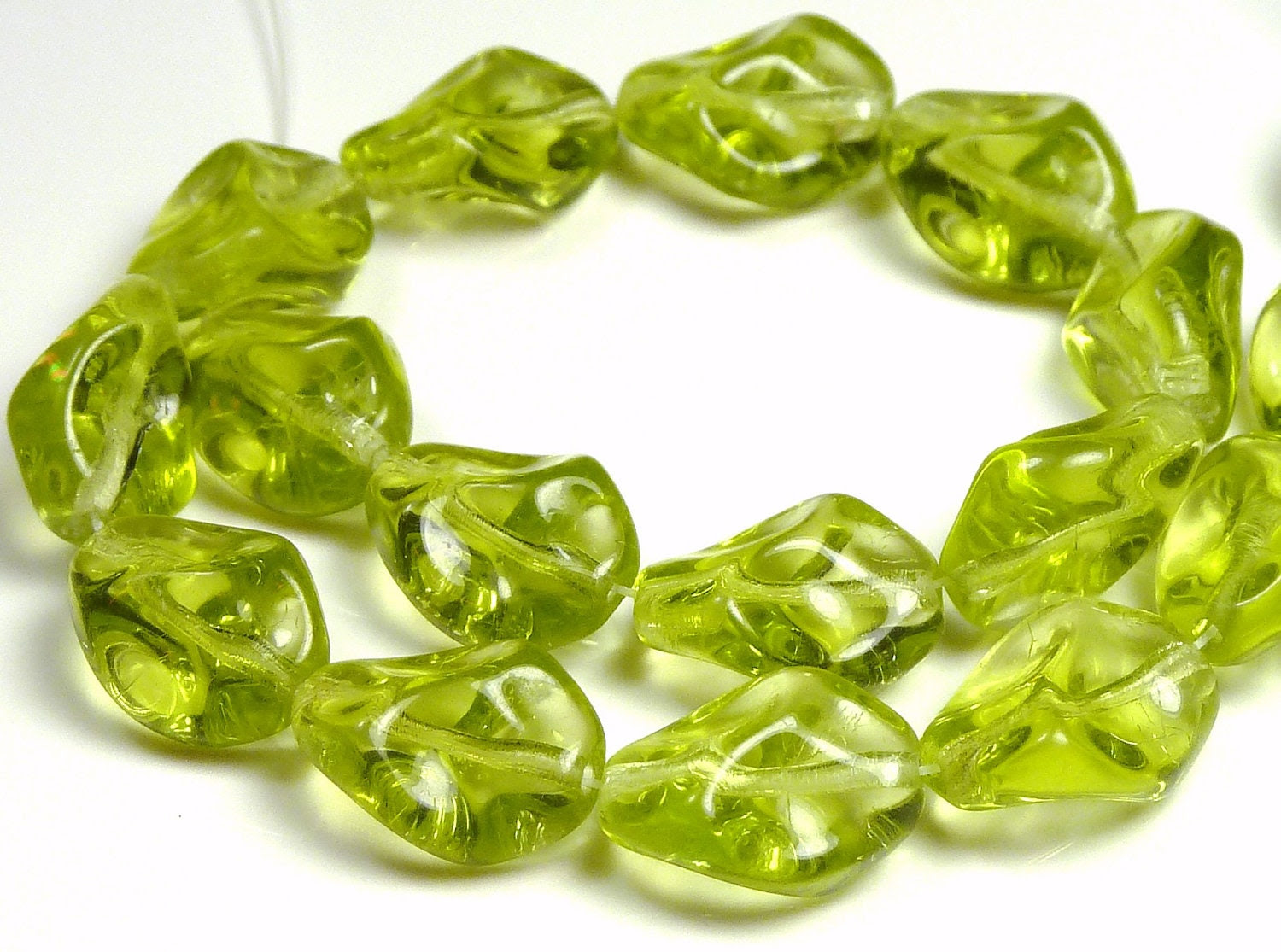 12mm x 9mm Czech Olive Green Pinched Twisted Oval Glass Beads - 7.5 Inch Strand (17) - BlackrockBeads