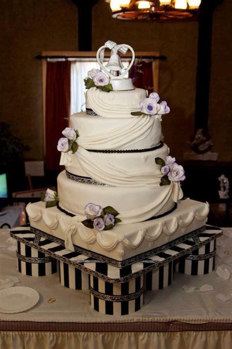 Purple,black And White Wedding Cake   CakeCentral.com