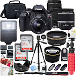 Canon EOS Rebel T6 18.0 MP Digital SLR Camera - Black - 18-55m and 75-300mm III Double Zoom Lens Kit