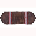 Saverio Odessa Table Runner With Turquoise Trim, Conchos - Brown 14x72