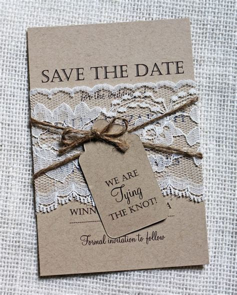 Lace Wedding Save the Date Save the Dates Rustic Wedding