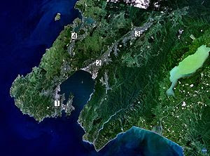 Satellite photo of the Wellington conurbation:...