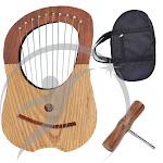 Lyre 10 metal strings harp rosewood 2 Tone tuning key and bag