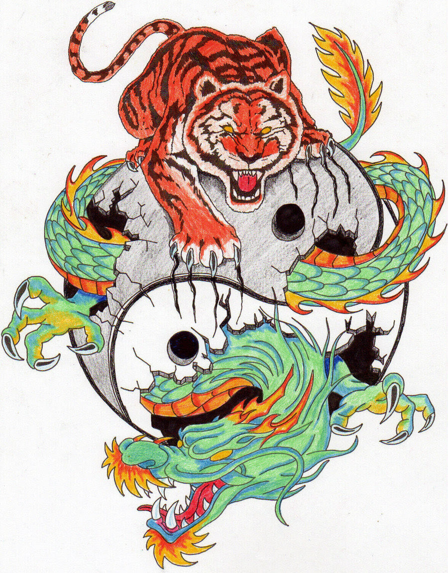 Colorful Tiger And Dragon Tattoo Design Tattoomagz