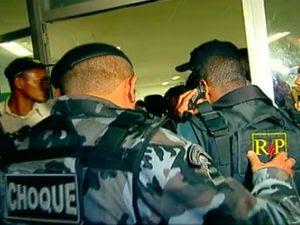 PMS fazem a segurança do Huse (Foto: Reprodução/TV Sergipe)
