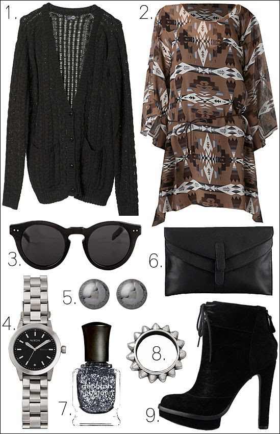OUTFIT COLLAGE DOLCE VITA HALEIGH DRESS CHEAP MONDAY CARDIGAN HOUSE OF HARLOW SUNGLASSES TOM INNS SPIKE RING ELIZABETH AND JAMES BOOTS CLUB MONACO CLUTCH NIXON WATCH
