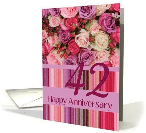 42nd Wedding Anniversary Card   Pastel roses and stripes
