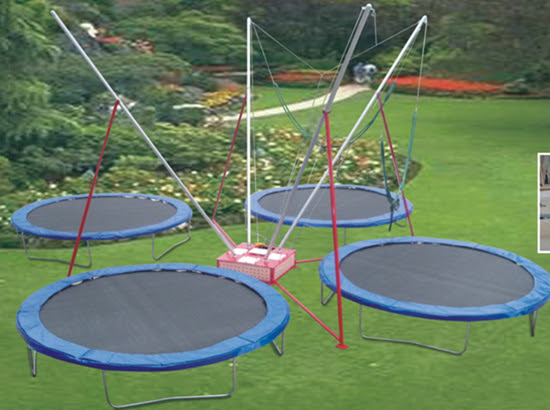 Backyard trampoline for sale with 4 seats