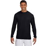 A4 N3165 Odor Resistant Men's Cooling Performance Long Sleeve T-Shirt - Black