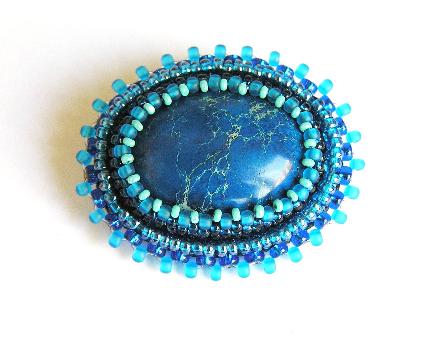 Sea Treasures-brooch blue jasper embroidery FREE SHIPPING - Reginao