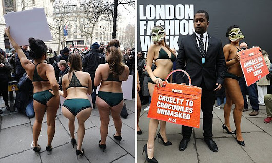 Models in lingerie and CROCODILE masks protest at London Fashion Week