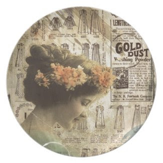 Vintage Art Vintage Woman Fashion Ads Plate