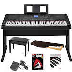 "Yamaha Portable Grand Electric Piano with Knox 19"" Bench & Accessory Bundle"